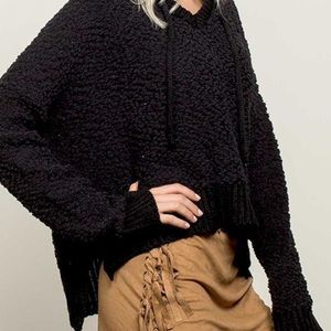 POL oversized knit ALPACA HOODED PULLOVER sweater